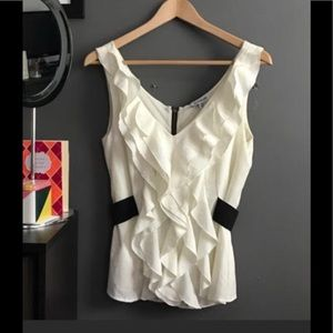 Bebe ivory ruffle zip up blouse top Xs
